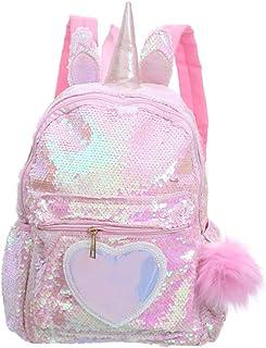 Mochila de lentejuelas reversible de unicornio para niños niñas Mochila escolar con purpurina brillante Preciosa mochila de viaje informal con patrón de corazón