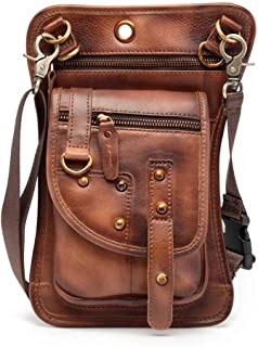 YWSCXMY-AU Real Leather Multifunction Men One Shoulder Messenger Bag Hook Waist Pack for Phone Cigarette Case Drop Leg Bag (Color : Burgundy)