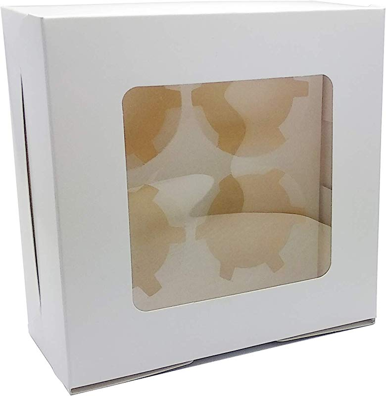 Bakery Box 6 2x6 2x3 Cupcake Containers White Box 4 Cavity Cupcake Box With Insert And Window Set Of 50