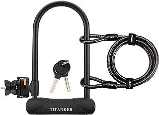 Titanker U Lock Bike Lock, Heavy Duty Keys Bike U Shackle Secure Locks Bicycle Lock with 4 Feet Cable & Mounting Bracket f...