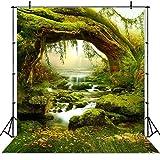 JIANGQIAO Fondo para fotos con diseño de herbáceas y bosques de hadas para niños recién nacidos, setas y elfos (color: SK0151, tamaño: 150 x 220 cm)