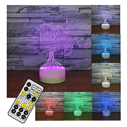 Preisvergleich Produktbild 3D Illusion Lampe Baum Led Nachtlicht 3D Lampe 7 Farben Wunsch Baum Form 3D Led Tisch Schreibtischlampe Kinder Nachttisch Lampe 7 Farben Dekorative Beleuchtung Geschenk Für Mädchen,  Junge, Remote+Touch