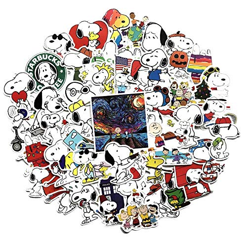 ZJJHX Cartoon Snoopy Graffiti Aufkleber wasserdichte Sonnenschutz Auto Aufkleber Elektroauto Kofferraum Dekorative Aufkleber 62 Blatt