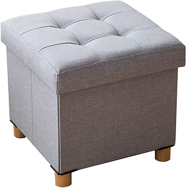 Footstool Solid Wood Shoes Stool Square Storage Stool Osman Sofa Bench Cushion Stool Cushion 4 Legs 38 38 35cm Length Width Height Bearing Weight 150kg Gray