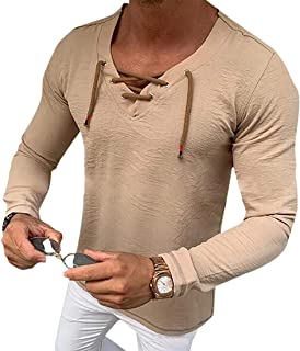 GAGA Men V Neck Casual Pullover Solid Color Long Sleeve Tops T Shirt Blouse