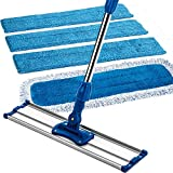 Zflow 18' Professional Microfiber Mop - Commercial Stainless Steel Handle with Microfiber Dust Pad + 3 Microfiber Wet Pads