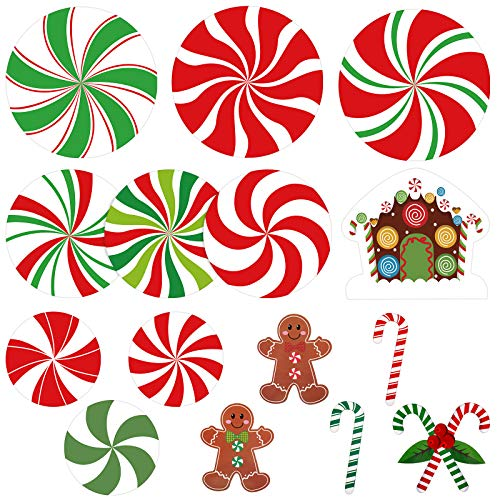 30 Pieces Peppermint Cutouts Gingerbread Men Cutouts Candy Canes Cutouts Christmas Cutouts with 60 Glue Point Dots for Candy Theme Party Decoration Classroom Bulletin Board Decoration