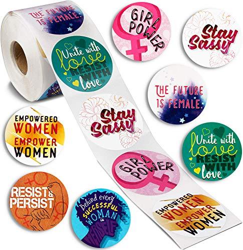 Aufkleber Frauenpower von Paper Junkie (500 Stück) – Runde Statement-Sticker mit verschiedenen Zitaten auf Englisch - Als Partygeschenk, für Demonstrationen - 5,1 cm x 5,1 cm