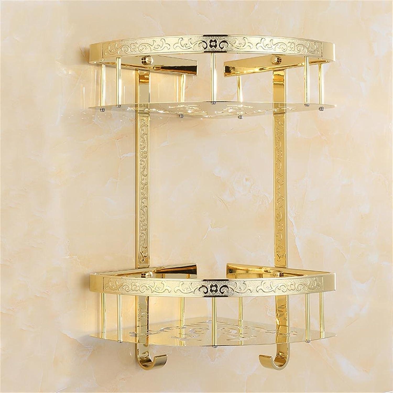 European Luxury Carved golden Double Triangular Racks Bathroom Rackswall-Mounted