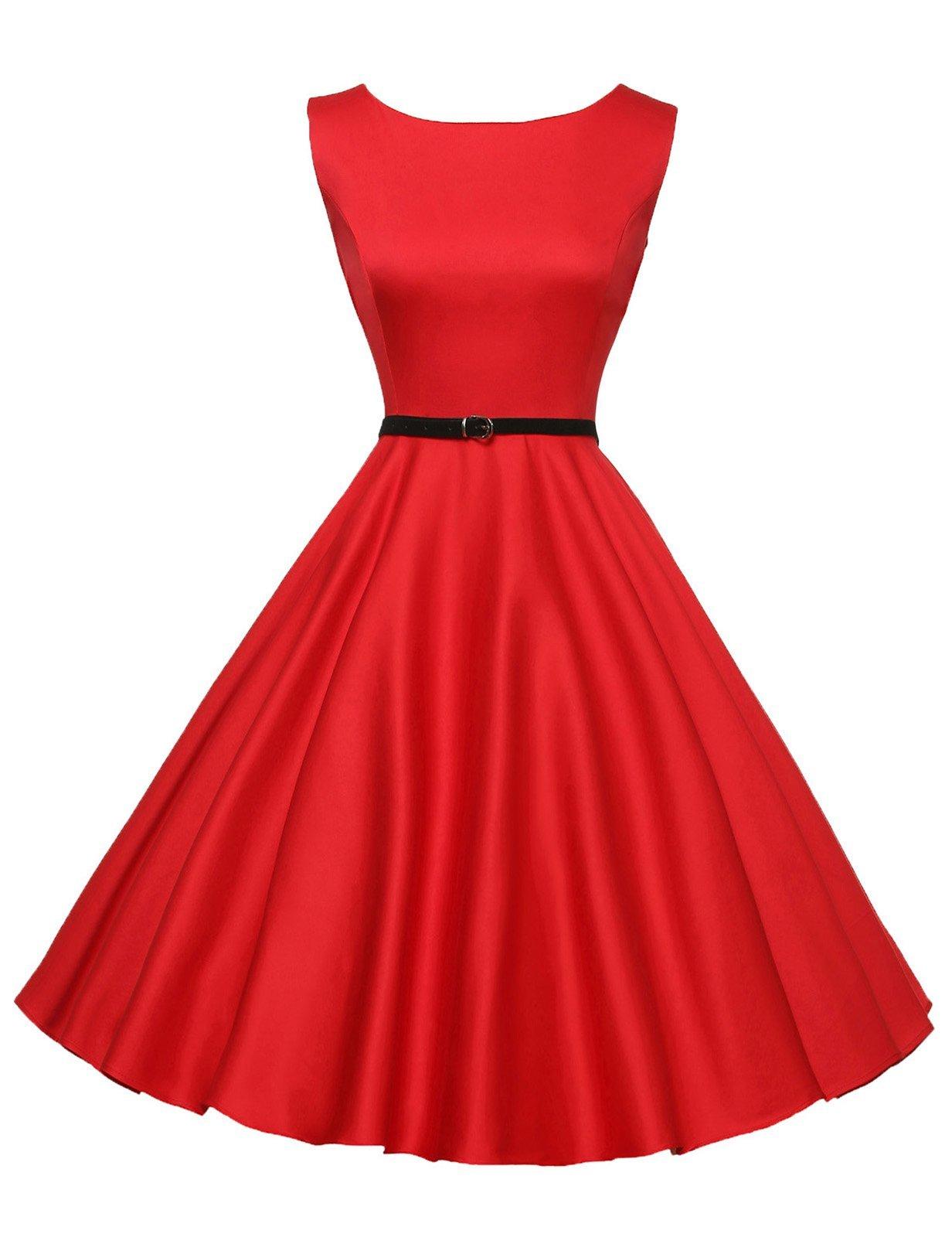 Red Dress - Women's 50s 60s Vintage Sleeveless V-Neck Cocktail Swing Dress