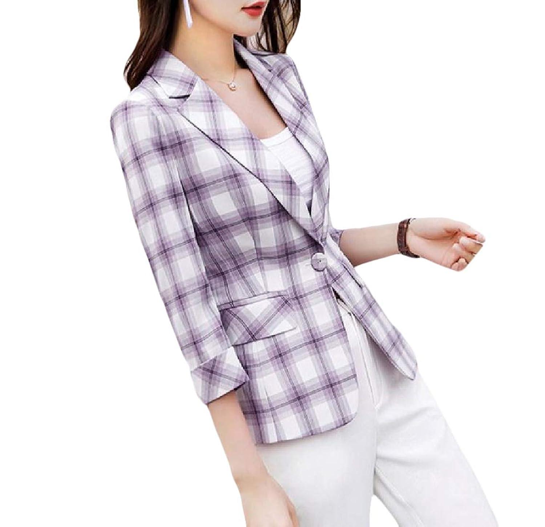 sayahe 女性プレードファッション1ボタン3分の1スリーブスリムジャケットブレザー