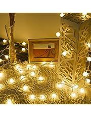 Lepro Ljusslinga bollar 13 m 100 lysdioder, festbelysning utomhus 8 lägen, perfekt ström julbelysning för inomhus utomhus balkong trädgård bröllop fest jul dekoration, varmt vitt festljus kedja