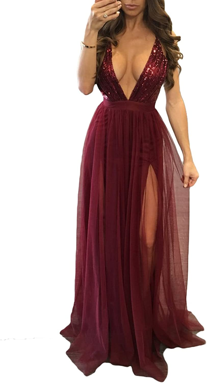 Alilith.Z Spaghetti Strap Deep Vneck Side Slit Sequins Tulle Evening Dresses Long Sexy