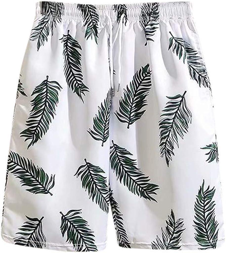 DIOMOR Summer Fashion Beach Trunks for Men Leaves Pattern 9