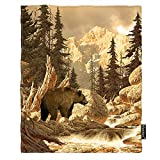 Moslion Grizzly Bear Throw Blanket 30x40 Inch Animal Wilderness Brook Canyon Forest Mountain Nature Yellowstone Cozy Throw Blanket for Couch Bed Sofa Car Soft Throw Blanket Flannel