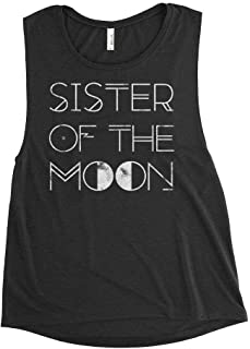 Sister of the MOON Women's Premium Flowy Scoop Muscle Tank, Stevie Nicks Fleetwood Sleeveless Wicca Rock Tee Shirt, Vintage Boho Worn Graphics Festival Concert Shirt by BLUE DOVE