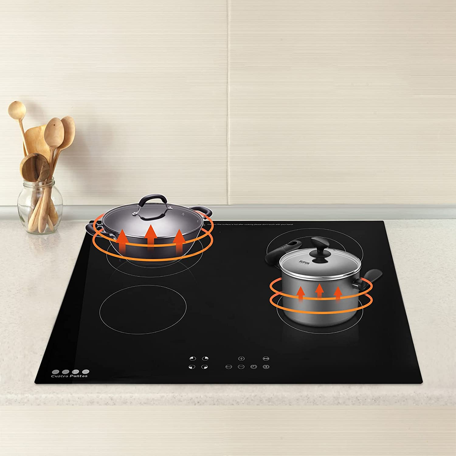 Younar 220V Portable Countertop Stove for Cooking, Infrared Electric Stove with Adjustable Temperature and Power, Hot Plate with LED Digital Display and 4 Burners, Electric Stove for Home Kitchen Camping