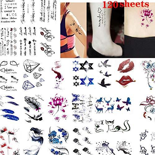Tatuajes temporales 120 Blatt Sexy Kinky Tattoo schmerzfreies Mädchen Kinder Tattoo Fake temporäre Tattoo-Aufkleber für Frauen – Blumen Papier Sexy Body Art Decals – Schmuck Flash Design