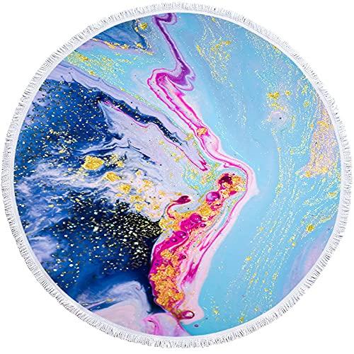 NHhuai Toallas - Microfibra Toalla de Playa Toallas de Acampada Piscina Toalla de Playa Redonda 3D Toalla de baño Flow Gold