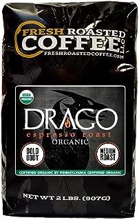 Fresh Roasted Coffee LLC, Drago Espresso Roast Coffee, Artisan Blend, Medium Roast, Bold Body, Whole Bean, 2 Pound Bag