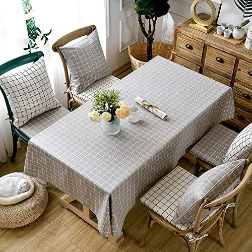 Kuingbhn Mantel de Decorativo a Prueba de Polvo Lino de algodón Grueso Uso para la Mesa de Comedor Banquete Sirve Rejilla Gris 110 × 170cm