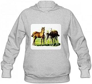 馬のトリオ Women Hoodie Sweater レディーズ トップス パーカー アクティブウェア