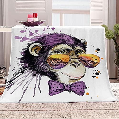 ZFSZSD Fleece Blanket Gafas de Sol y orangután Mantas de Sofá de Franela de Adultos y Niños Resistente a Las Arrugas No Pierde Color,Mantas para Cama 130x150cm