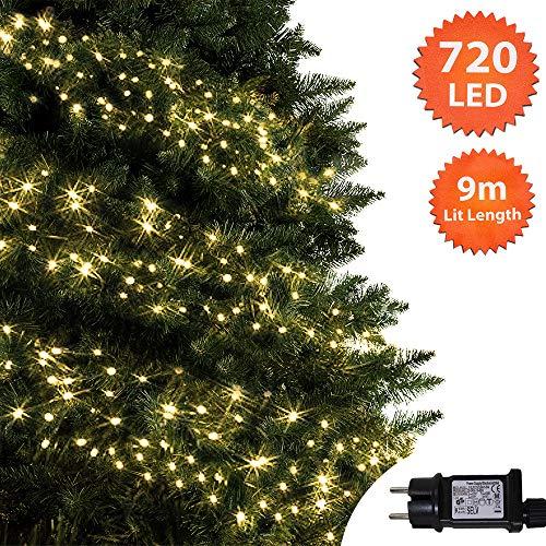ANSIO Weihnachtsbeleuchtung 720 LED 9m Warmweiß Außen Cluster Baumbeleuchtung String Innenlichterkette Memory Timer Netzbetrieben Beleuchtet Länge 10m Dachrinne Grünes Kabel