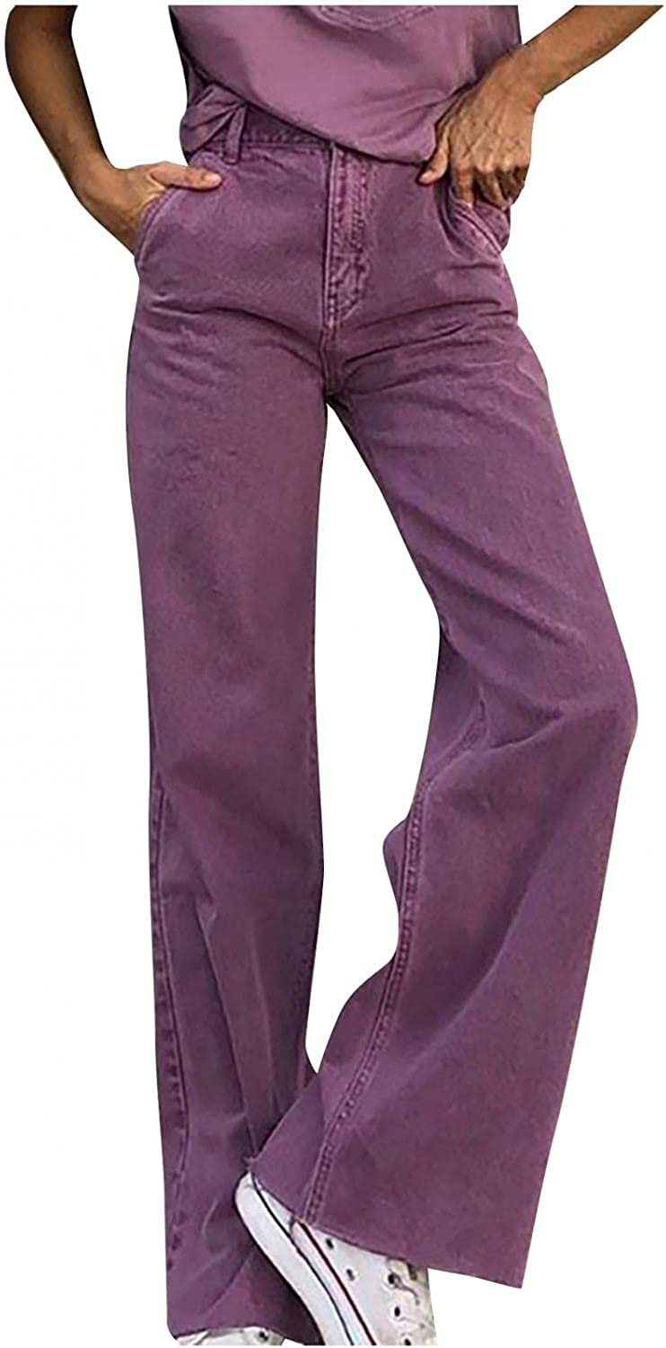 Lingbing Y2K Fashion Jeans, Women Straight Leg Trousers High Waisted Denim Jeans with Holes Baggy E-Girl Streetwear Pant