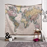 Morbuy Tapiz Pared de Creativo Mapa del Mundo Decoración Tapices Mapa del Mundo Impreso Tapicería Cubierta del Sofa Manteles Cortina Blanket Playa Accesorio Casero (Pequeño (130 x 150 cm))