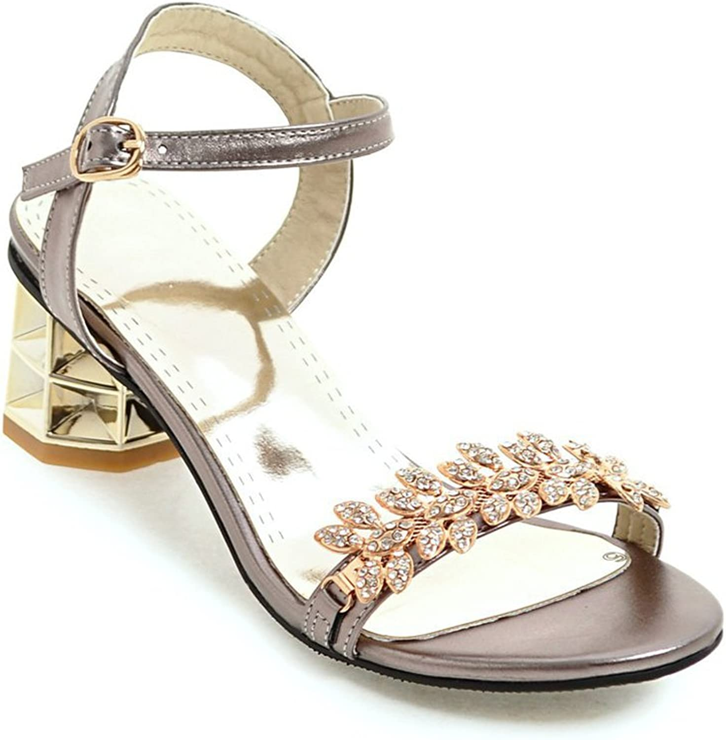 Noebo Leather Ankle Strap Heel Jeweled Women Sandals