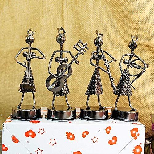 AMYZ FYHJND Iron Art Creative Musician Little Iron Man Woman Band Tocando artesanías de Metal Adecuado para la decoración del hogar Sala de Estar Armario de Vino Soporte de TV Adornos de Estatua,