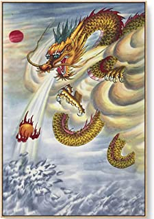 Oil Paintings On Canvas Wall Art Framed, Auspicious Dragon Poster Print Artwork, Chinese Style Art Framed Wall Art Paintin...