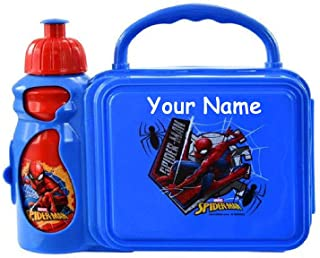Personalized Spider-Man Snack and Go Back to School Plastic Lunchbox and Water Bottle Combo Lunch Tote Kit with Custom Name