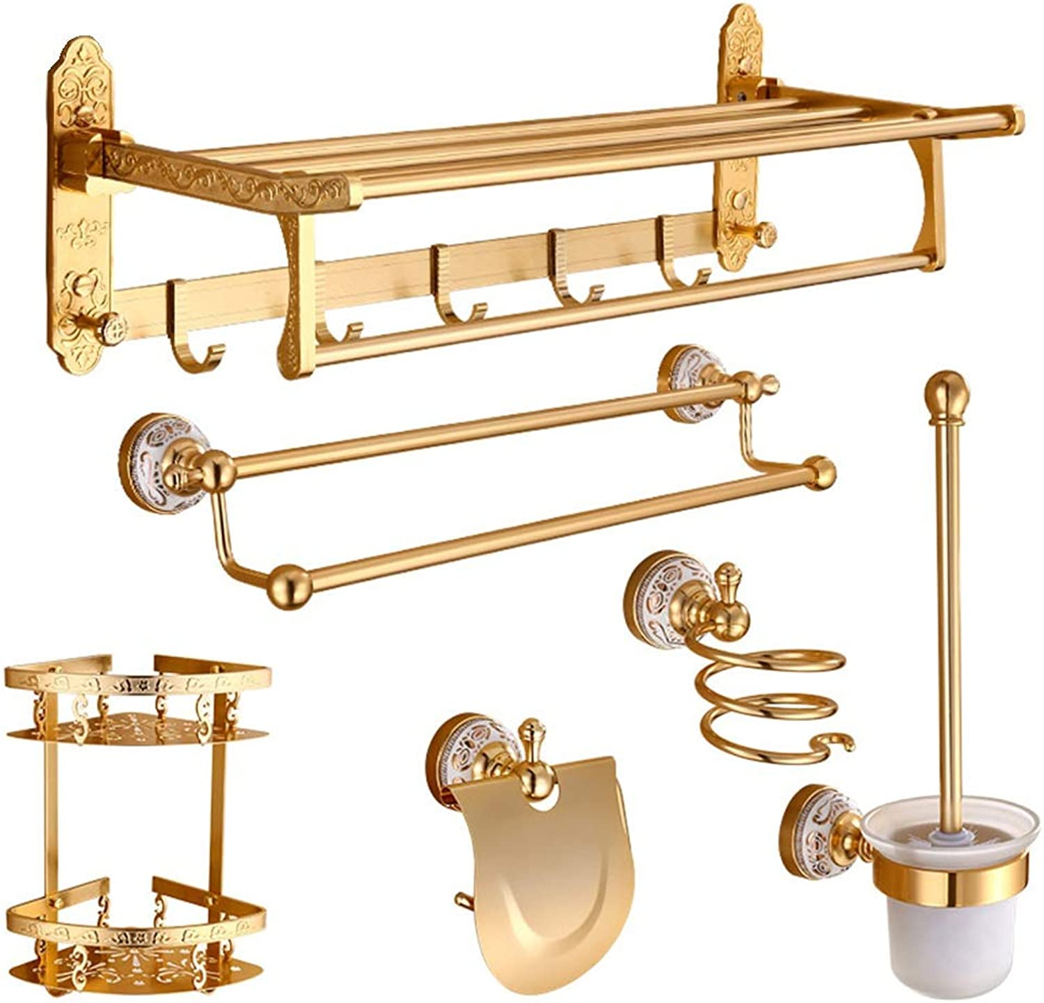 ZHANWEI Bathroom Shelf Shower Organiser Towel Rack Wall-Mounted Hair Dryer Rack Triangle Basket Toilet Brush Tissue Box Space Aluminum Combination Toilet gold (color   F-Combination)