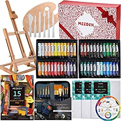 Perfect Gift for Artists Acrylic Paintbrush Set 12/×12ML Acrylic Paint Set Beginner /& Adults MEEDEN 48 Pcs Acrylic Painting Set Canvas Panels Paint Palettes Solid Beech Wood Sketchbox Easel