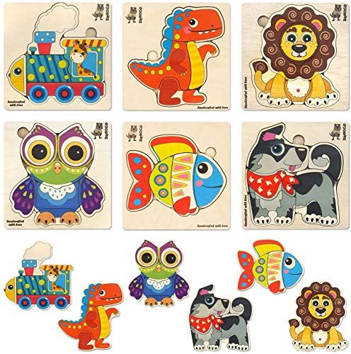 Toddler Puzzles for Kids Ages 2-4 by QUOKKA - 6 Wooden Puzzles for Toddlers 1-3 Years Old – Wood Toys for Learning Animals - Gift Educational Game for Boy and Girl 3-5
