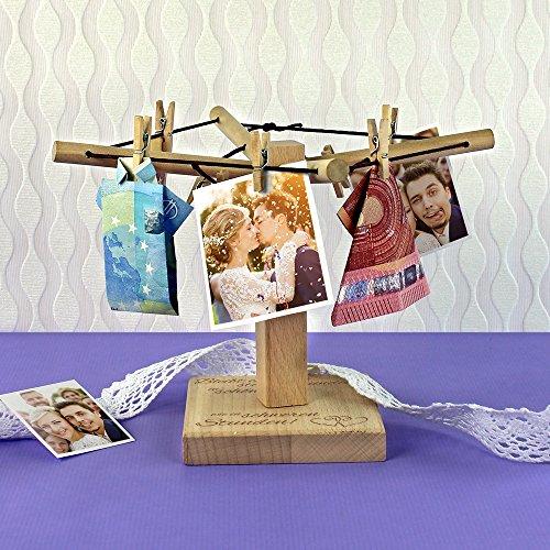 Casa Vivente – Wäsche-Spinne aus Holz mit Gravur zur Hochzeit – Bleibt einander stets verbunden – Motiv: Herzen – kreative Verpackung für Geldgeschenke – Hochzeitsgeschenke – Maße: 20 x 12 cm - 4