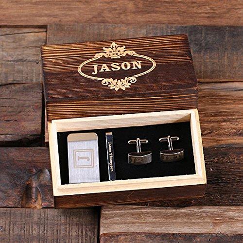 Personalisiertes Geschenkset für Männer - Rechteckige Manschettenknöpfe, Geldklammer, Krawattenklammer mit hölzerner Präsentationsbox für Männer und Platzanweiser