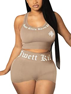 Women's 2 Piece Workout Sets - Sexy Crop Tank Top Biker Shorts Outfits Casual Jogging Tracksuit Sets