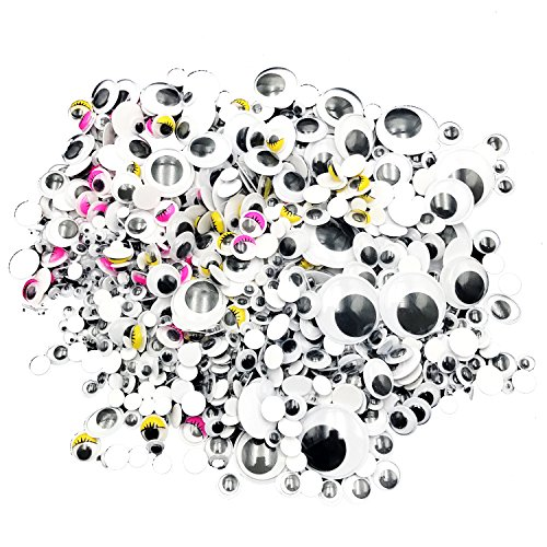 Wiggle Eyes,NISHLEY Googly Eyes 1100 Pieces Self Adhesive Black Wiggle Googly Eyes with Storage Box for Creative Crafts Decorations