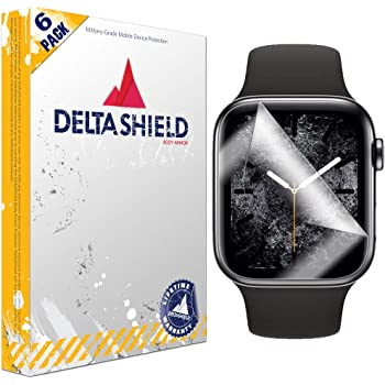 DeltaShield Screen Protector for Apple Watch Series 4 (40mm)(6-Pack)(Maximum Coverage) BodyArmor Anti-Bubble Military-Grade Clear TPU Film