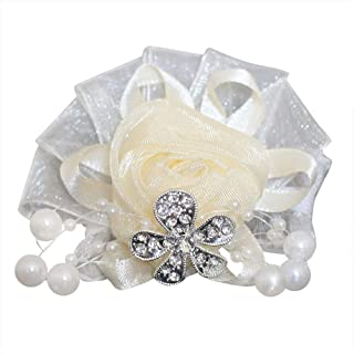 DOTKV Artificial Wrist Silk Flower Boutonniere Wrist Bouquet Fake Flower with Peal and Diamond for Wedding Decor,Cocktail Party (White, 1PCS)