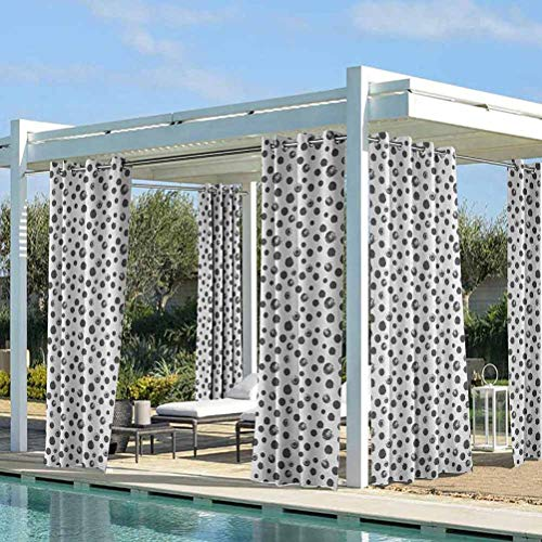 ParadiseDecor Grunge Blackout Curtains Outdoor Garden Shading Light Blocking Circle Paint Smear Spotty Pattern with Weathered Look Brushstroke Dots Charcoal Grey White 112W x 95L Inch