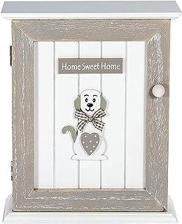 SPOTTED DOG GIFT COMPANY Boîte à Clés Murale en Bois - Murale Porte-clés, Rangement des Clefs avec 6 Crochets, Blanc Gris ...