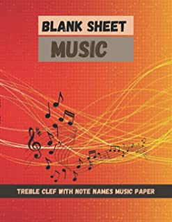 Blank Sheet Music Treble Clef With note names music paper Colorful digital sound wave background technology earthquake wav...