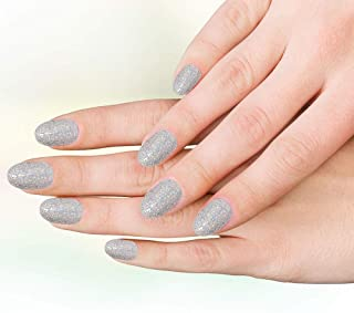 Hand made/Hand Painted/Hand Crafted customised -Silver Glitter Press On Gel Nails-with extensions and glitter nail art