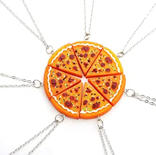 Fusicase 6pcs/lot Bling Silver Friend Friendship Couple Pizza Metal Necklace