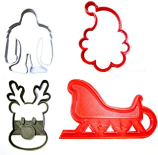 RUDOLPH THE RED NOSED REINDEER SANTA CLAUS SLEIGH YETI CHRISTMAS MOVIE ANIMATION SET OF 4 SPECIAL OCCASION COOKIE CUTTER BAKING TOOL 3D PRINTED MADE IN USA PR1284