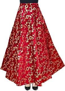 DB ENBLOC Women's Now Umbrella Cut Skirt for Party/Festival Function Maroon